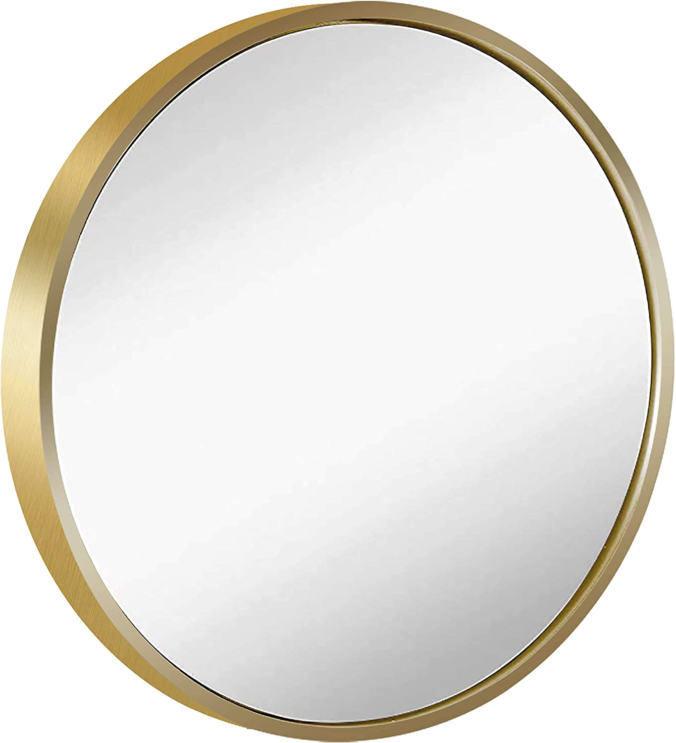 Round Framed Wall Hanging Mirror: Vanity Mirror Large Circle Metal Mirror for Decorative Wall Art (Golden, 24 inch,Multi-Sized)