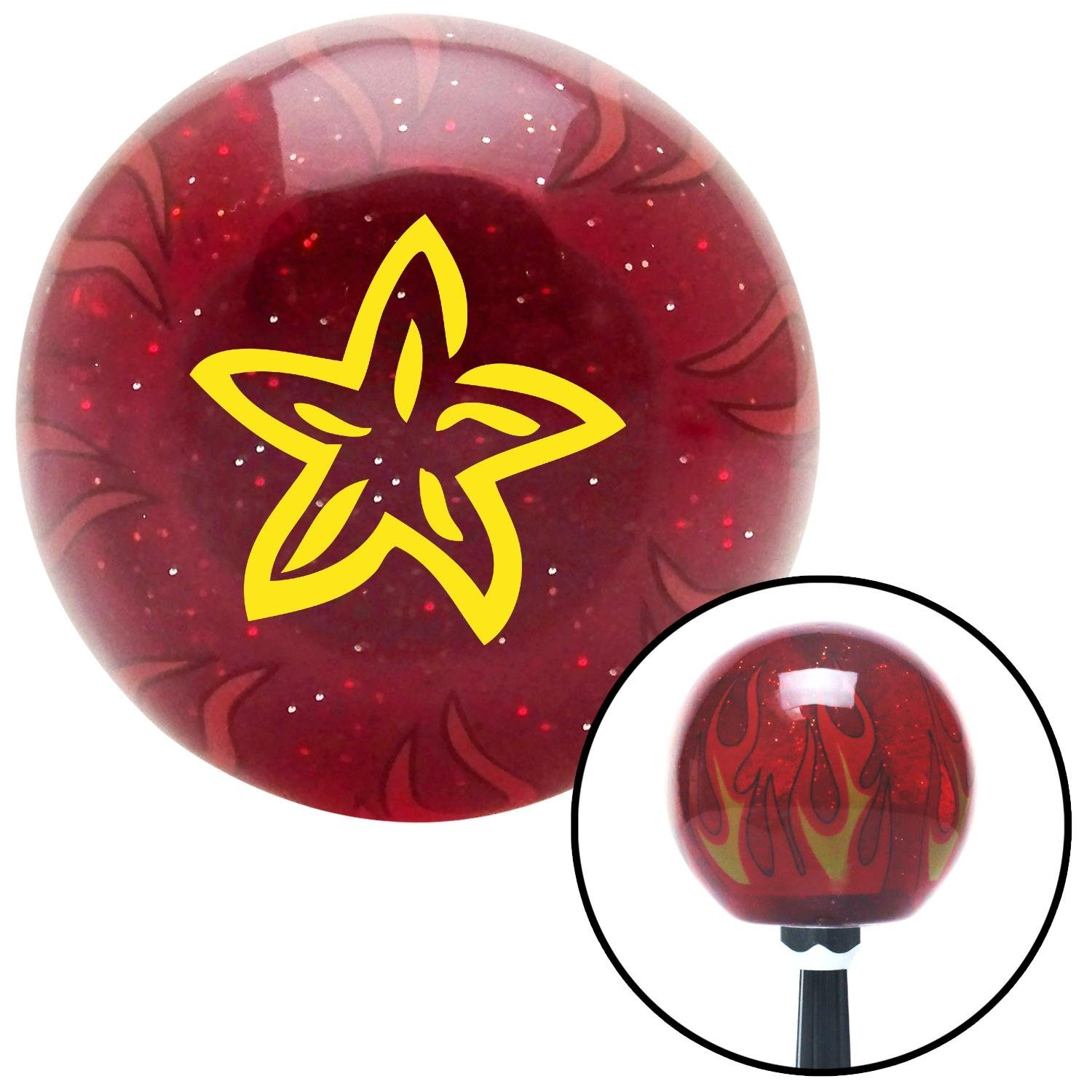 Yellow Starfish American Shifter 240855 Red Flame Metal Flake Shift Knob with M16 x 1.5 Insert