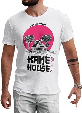 LeRage Dragon Ball - Camiseta para Hombre, diseño con Texto en inglés Fan Made Kame House, Color Blanco: Amazon.es: Ropa y accesorios