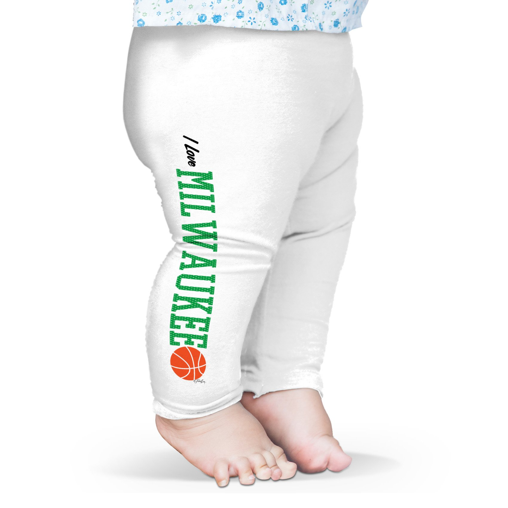 Twisted Envy Baby I Love Milwaukee Basketball Leggings Trousers 12-18 Months White