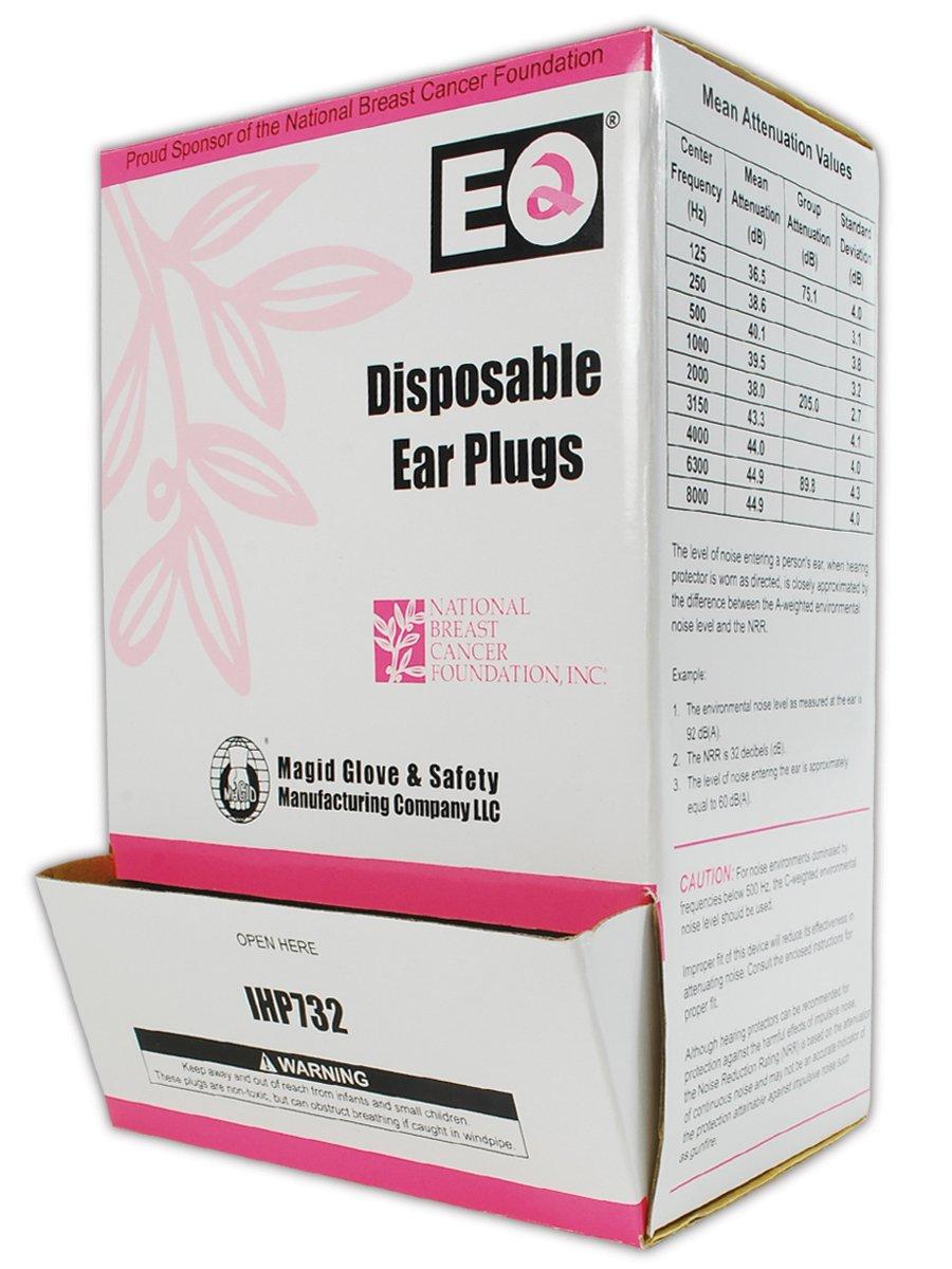 Magid IHP732 Polyurethane Foam E2 Disposable Uncorded Earplug, One Size Fits All, Pink (200 per Dispenser)