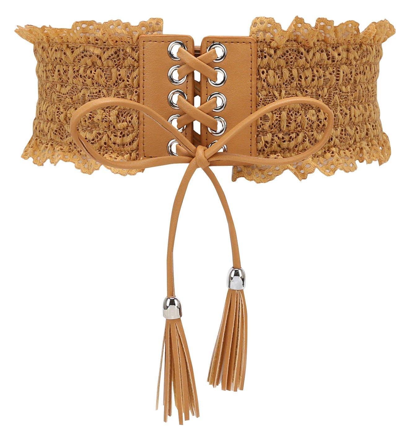FEOYA Women's Bowknot Plus Size Obi Cinch Waist Band Wrap Aroud Lace Boho Sash Belt for Dress/Shirts/Skirts, Light Tan, M