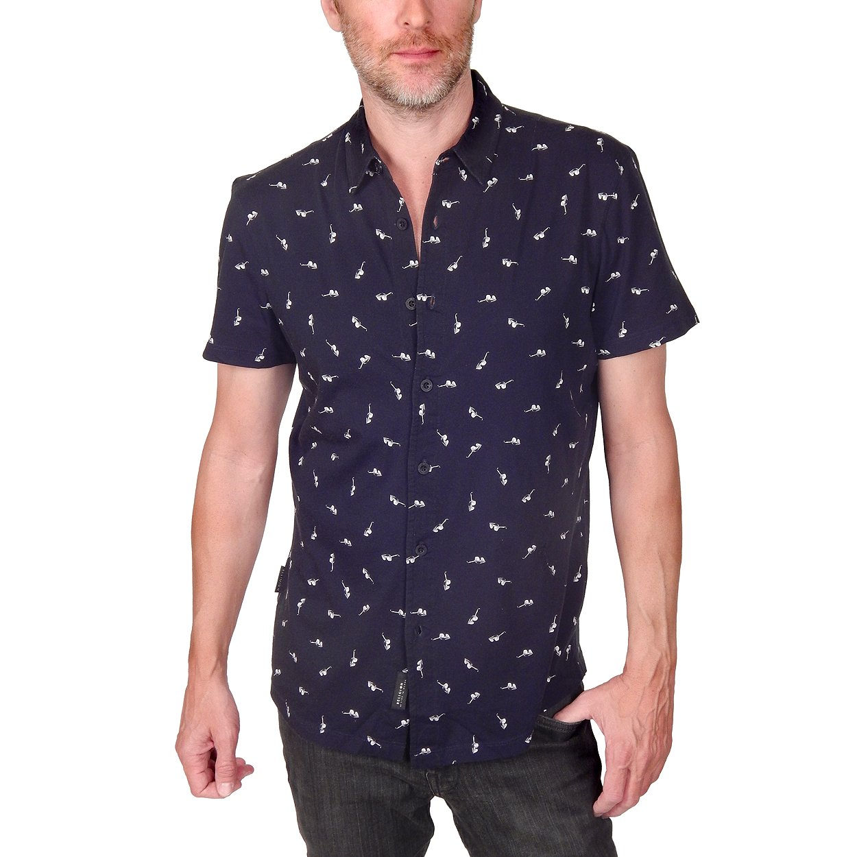 RELIGION UK - ''MIX SHADE'' Sunglasses Print Shirt in Black (Small) by Religion London