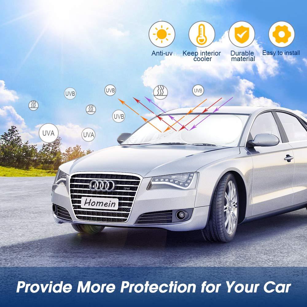 Homein Parasol Coche Parabrisas Excelente Protector Plegable para Coche contra UV Rayos Calor Apta a la mayor/ía de Coches y SUVs
