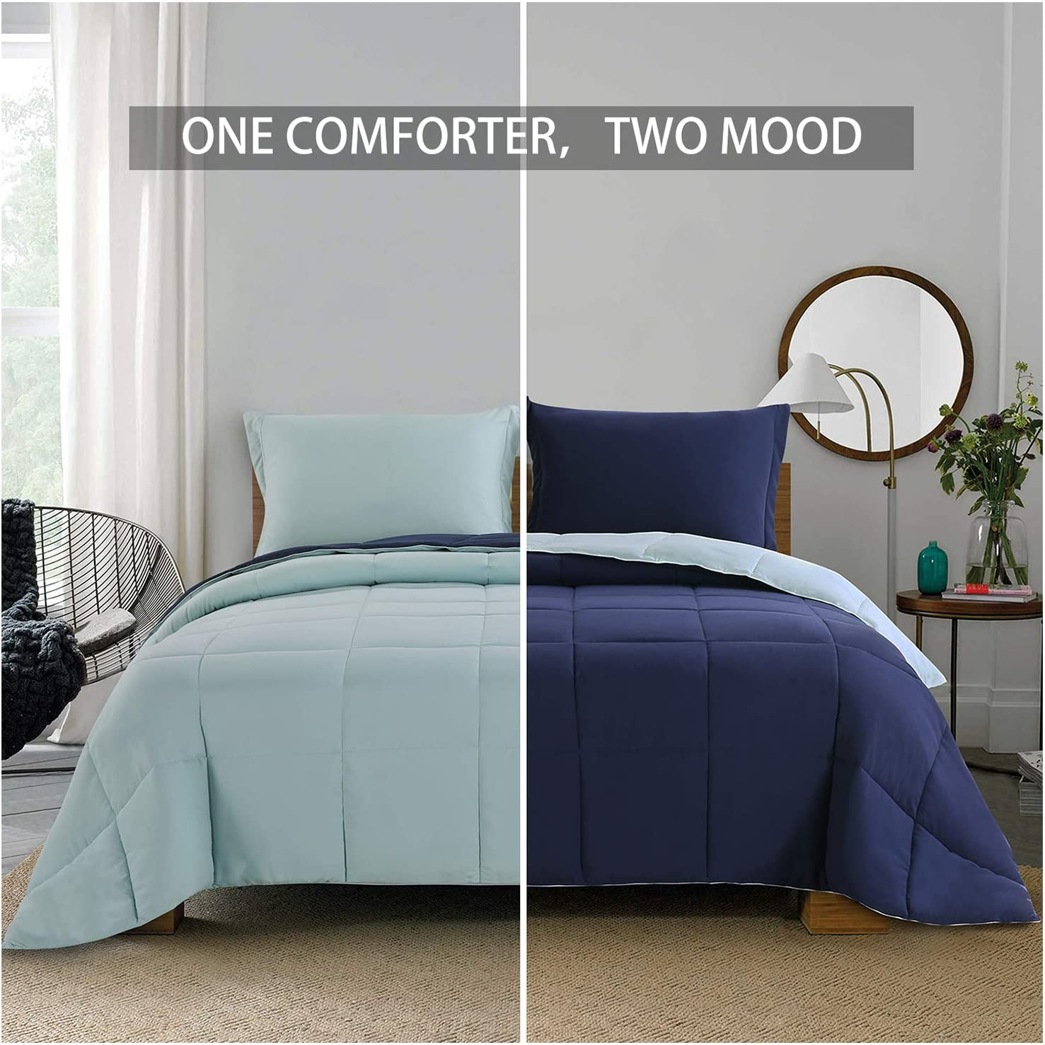 Homelike Moment Lightweight Comforter Set - Queen Navy Blue All Season Down Alternative Comforter Set Summer Duvet Insert 3 Piece - 1 Comforter with 2 Shams Reversible Full/Queen Size Navy/Light Blue