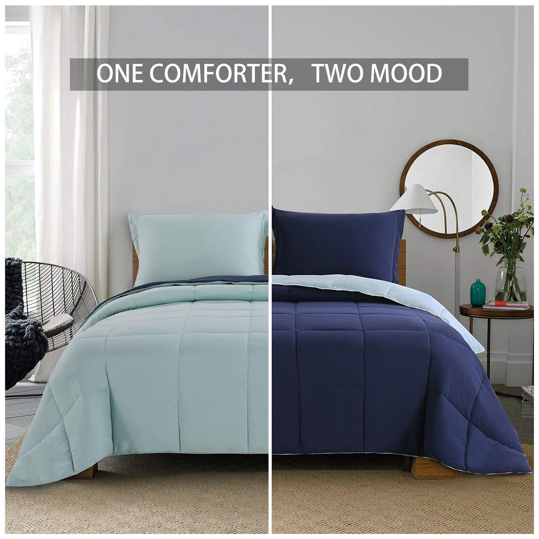 Homelike Moment Lightweight Comforter Set - Twin Navy Blue All Season Down Alternative Comforter Set Summer Duvet Insert 2 Piece - 1 Comforter with 1 Sham Reversible Twin Size Navy/Light Blue