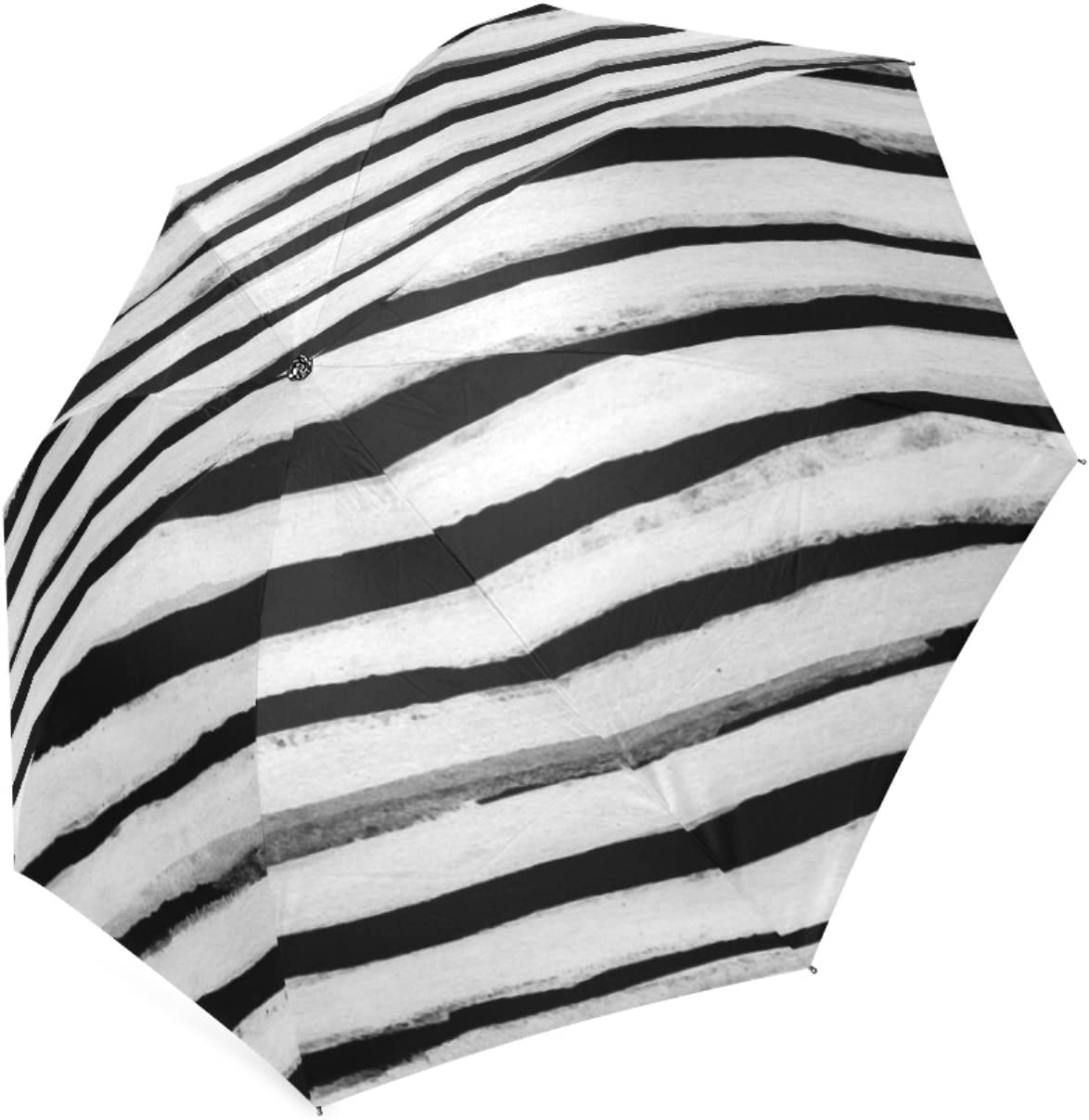 Beautytool Custom Black And White Stripes Foldable Rain Umbrella