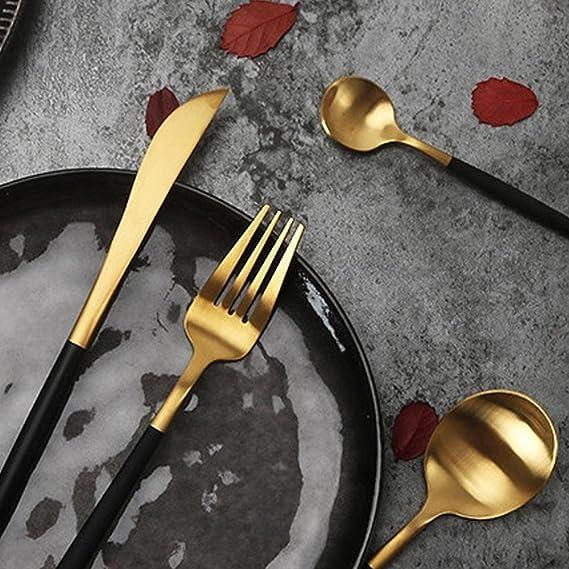 AOLVO Cuberteria Dorada, 4 Piezas Juego de Cubiertos de Acero Inoxidable 18/10 con Cuchara Tenedor para Uso Diario o Viajes - Negro Oro: Amazon.es: Hogar