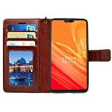 Bracevor Flip Cover Case for OnePlus 6 | One Plus 6 Leather | Inner TPU | Foldable Stand | Wallet Card Slots - Executive Brown