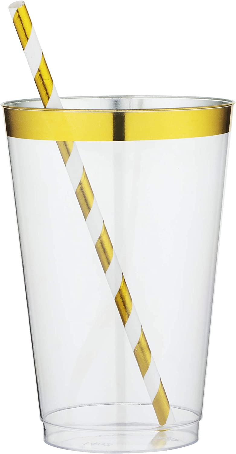 AMEDY'S 100 Gold Rimmed Reusable Plastic Cups And Adjusted Golden Striped Paper Straws (50&50) – Thick, Durable 12 Oz Disposable Glasses – Plastic Cup Gold Cocktail Cups for Beverage | Party | Cups