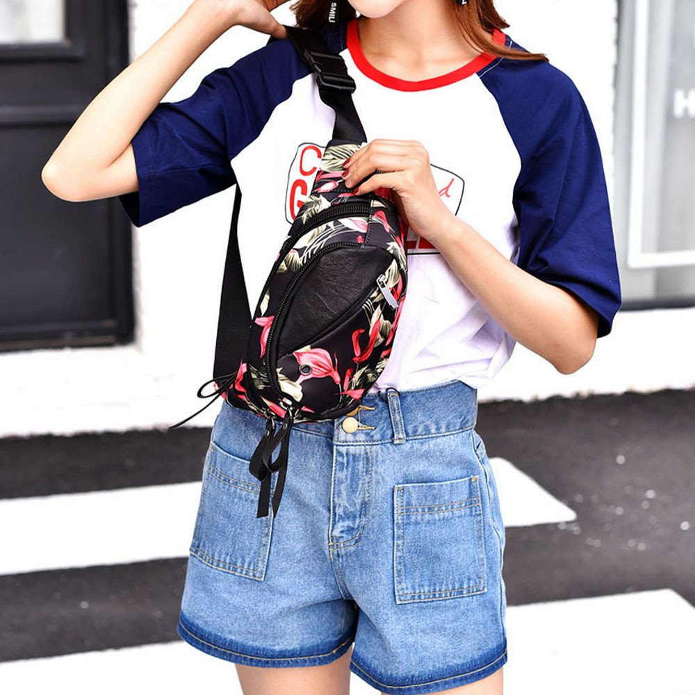 Fashion Women Floral Print Crossbody Bag Chest Bag Waist Pack Messenger Shoulder Bag Casual Belt Bags Waist Bag