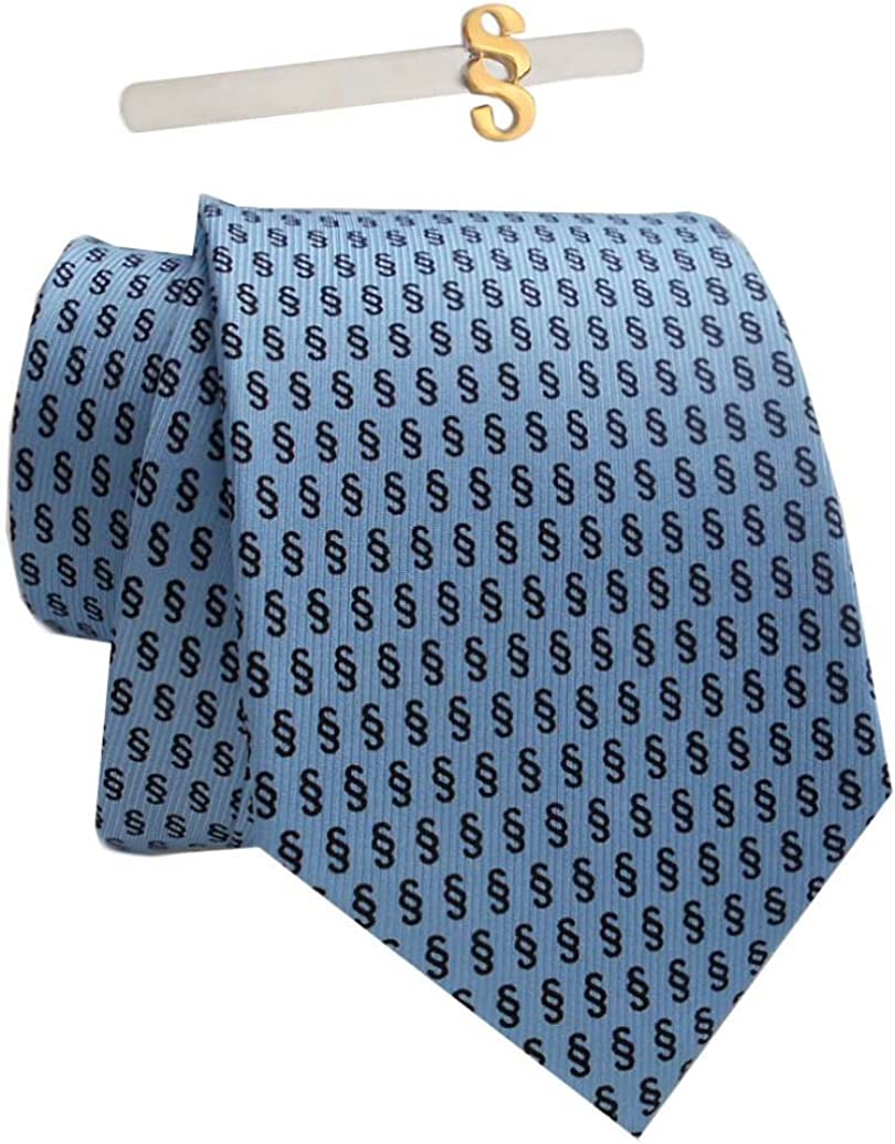 magdalena r Krawattenhalter Paragraph Bicolor Geschenkbox Set Paragraph /§ Seidenkrawatte blau