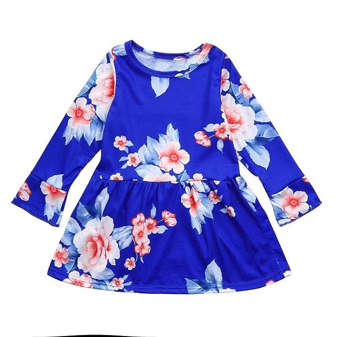 ecc8b8e94 Yannerr Bebé Niña Manga Larga Floral Desfile Princesa Fiesta Falda Vestido  Primavera Camiseta Tops Blusa suéter