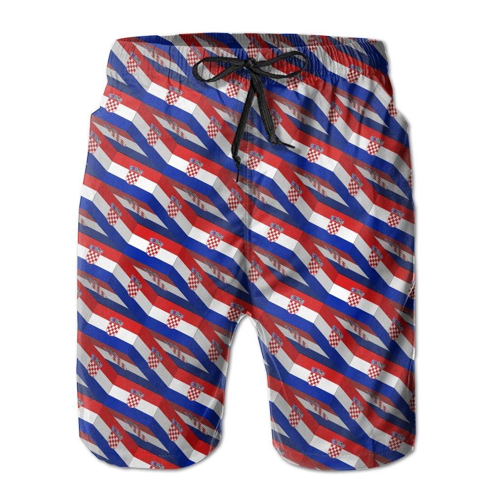 Men's Beach Shorts Swim Trunks Quick Dry Lightweight Short 3D Print Croatia Flag 3D Art Pattern Beach Shorts Adam Original CO. LTD