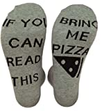 """Himozoo 100% Cotton """"IF You Can Read This Bring Me Pizza"""" Novelty Funny Socks - Men Women Christmas Gifts Slipper Socks"""