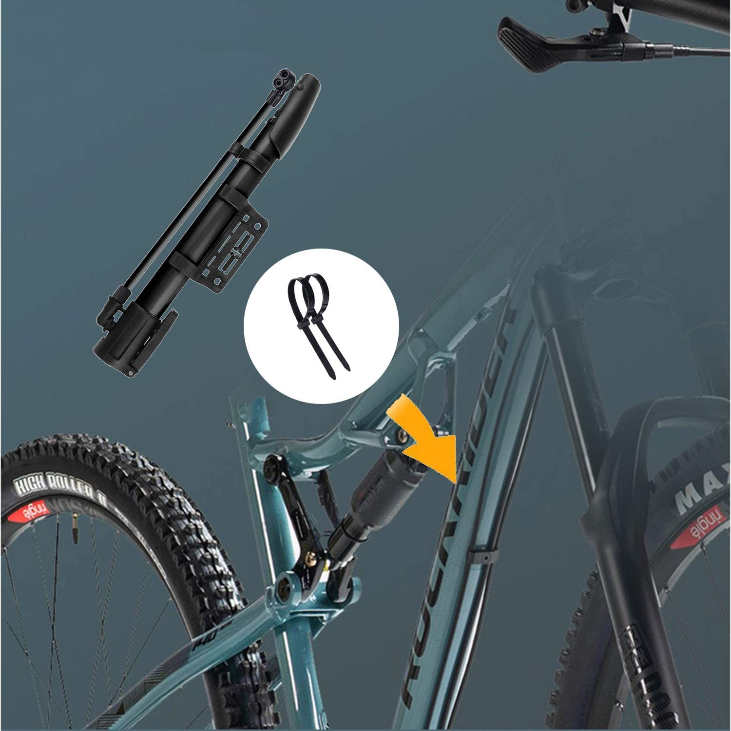 VIMILOLO Bike Pump,Bicycle Pump Portable Mini Ball Pump Aluminum Alloy Bike Tire Floor Pumps Presta and Schrader for All Bike,/&Basketball Football Rugby Exercise Sports Ball Swim Inflatables