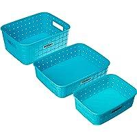 Amazon Brand - Solimo Fruit Basket Set (3 pieces, Blue)