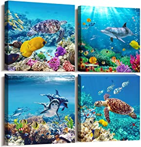 Canvas Wall Art for Living Room- family Bedroom Canvas Pictures Artwork Bathroom Wall Decor- 4 Panels Coral and Sea Fish and Turtles Ocean Theme Stretched and Framed Ready to Hang Modern Home Decor