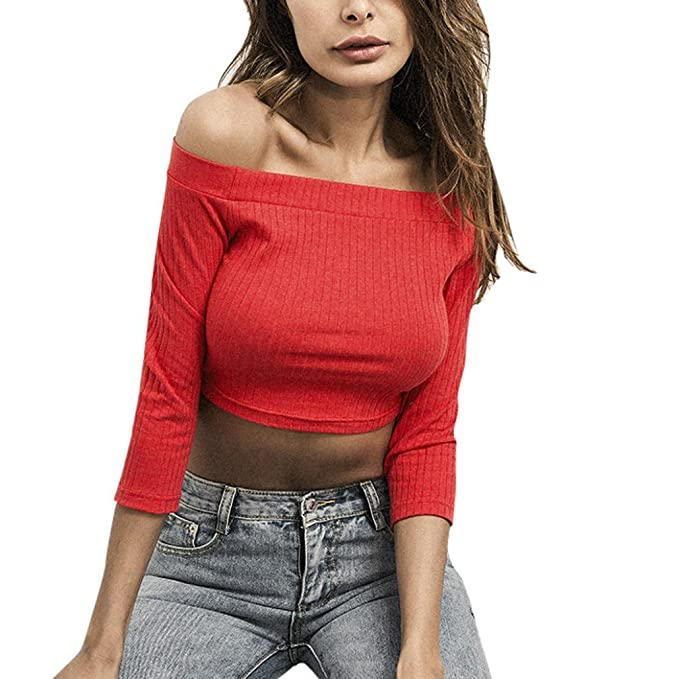 Yannerr Mujer Hombros marcados Ombligo del rocío Rayas Casual Suelta Manga Larga básica Inferior Camiseta Tops