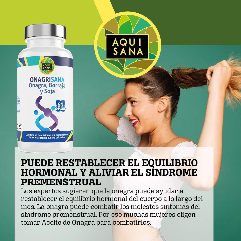 Onagrisana -Aquisana | Perlas Aceite de Onagra + Borraja + Soja + Vitamina E | | Ayuda a Mantener el equilibrio hormonal de las Mujeres |Libre de ...