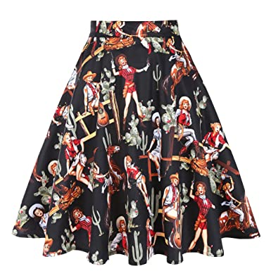 6a01bf592c Women Summer Autumn A-Line Skirts High Waist Pleated Skirt Black Western  Cowgirls Printed Floral