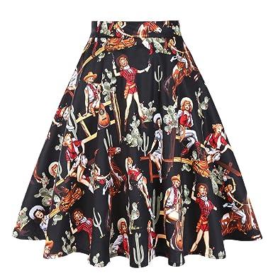 97d891eef309a Women Summer Autumn A-Line Skirts High Waist Pleated Skirt Black Western  Cowgirls Printed Floral