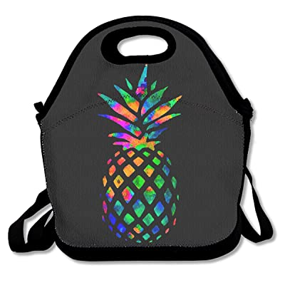 .com - SARA NELL Neoprene Colorful Pineapple Lunch Bag Insulated Summer Fruit Rainbow Pineapple Lunch Backpack Lunchbox Handbag with Adjustable Shoulder Strap Best Gift for Men Women Teen Boys Girls -