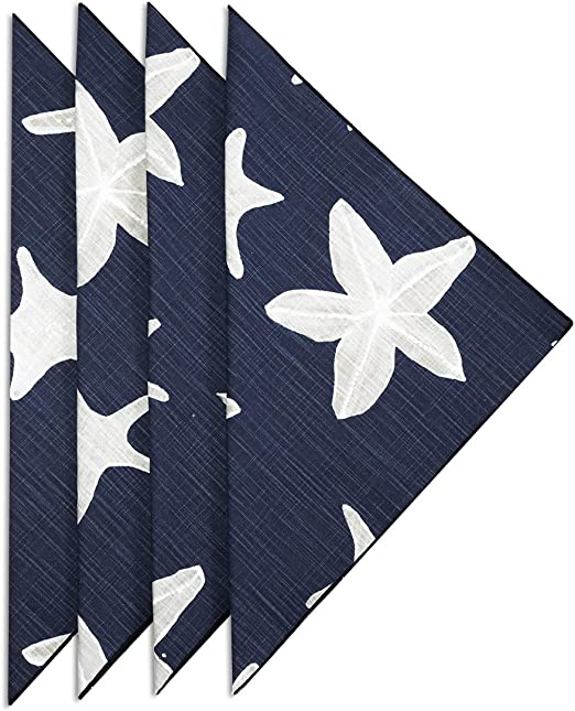 Amazon Com Cloth Napkins Table Linens Cotton Linen Napkins Dinner Napkins Nautical Beach Decor Set Of 4 Blue Sealife Kitchen Dining