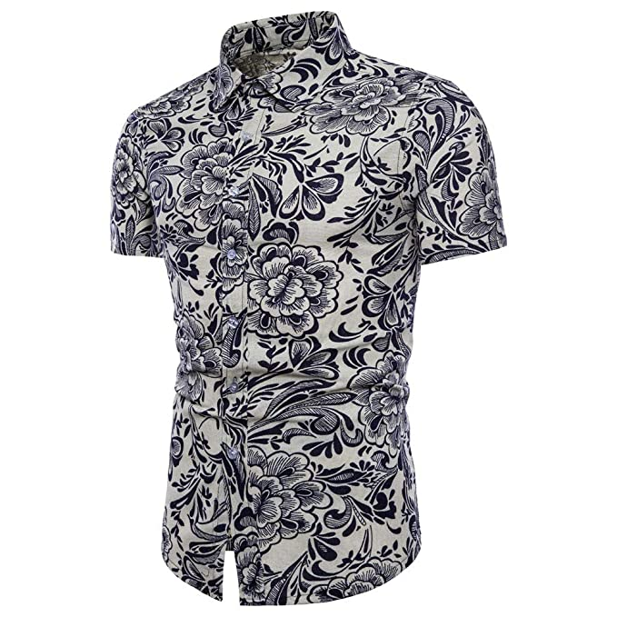 Bestow Camisa básica de Lino Blusa Blusa Camiseta de Manga Corta con  Estampado de Manga Corta a4c542d8331e5