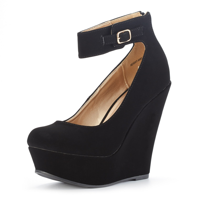 DREAM PAIRS Women's Height-Ankle Black Nubuck Elegant Ankle Strap Rear Zipper Closure Wedge Heel Platform Pumps Shoes Size 6 B(M) US