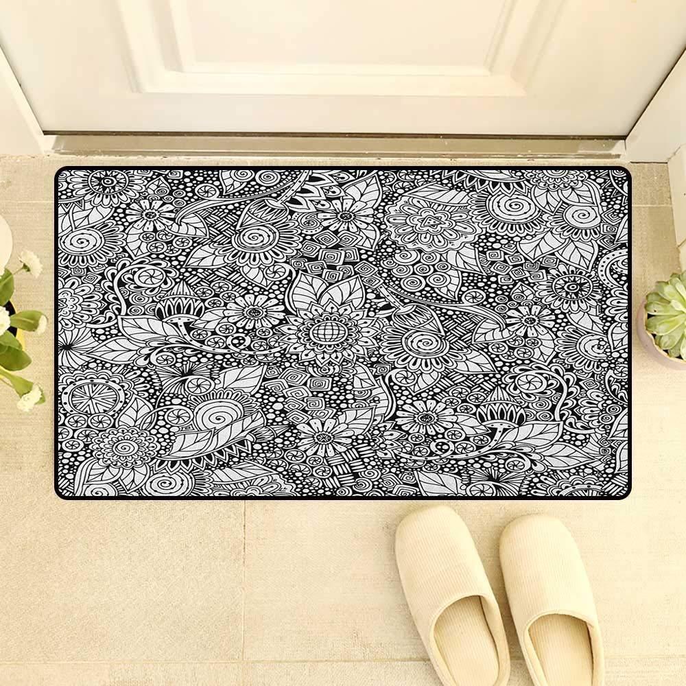 Amazon.com : zojihouse Doodle Bath Mat Non Slip Floral ...
