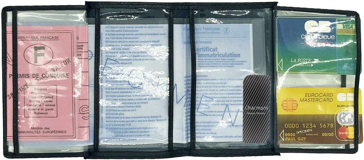 la Carte Grise Etui Porte Papier Voiture Charmoni/® 4 Plis en Cuir Vachette permis de Conduire 10 cm X 15 cm Thane La pi/èce didentit/é Mauve