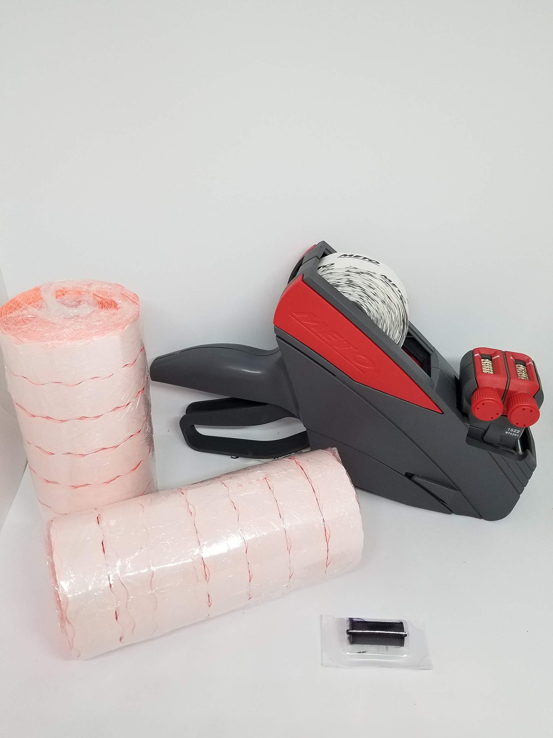 Meto 15.22/2 line Price Labelgun, Value Pack, Price Gun, Box Fluro Red Labels, Ink Roller