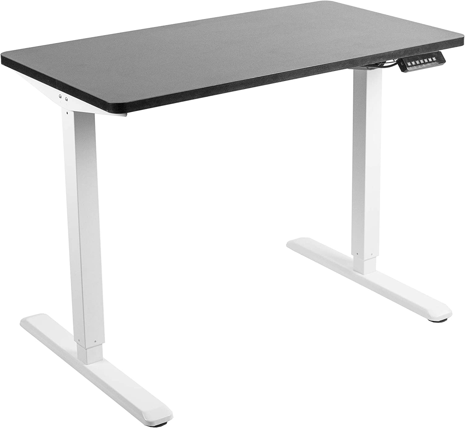 VIVO Electric 43 x 24 inch Stand Up Desk, Black Solid One-Piece Table Top, White Frame, Height Adjustable Standing Workstation with Memory Preset Controller (DESK-KIT-1W4B)