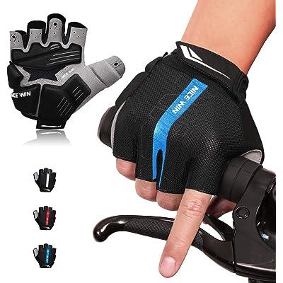 LOHOTEK Guantes de Bicicleta Acolchados SBR de 6 mm de Montaña para Hombres Mujeres Jóvenes Guantes MTB con Acolchado Amortiguador Malla Respirable para Deportes al Aire Libre de Ciclismo