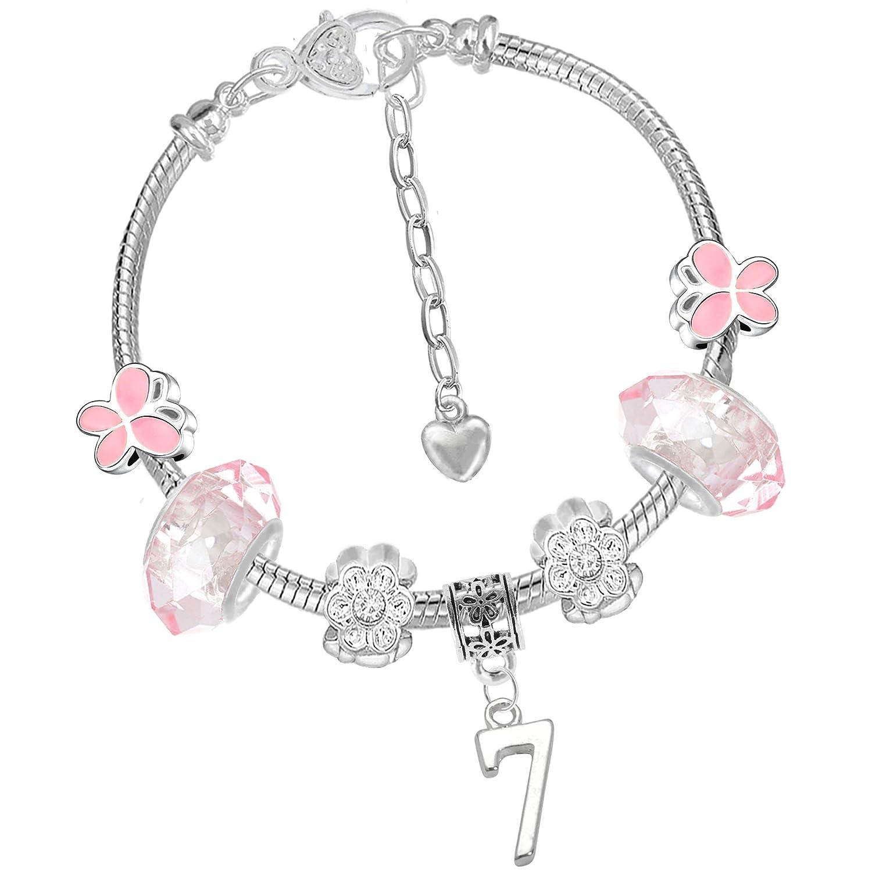 Bracelet rose à breloques avec papillon et chiffre pour fille - Avec boîte cadeau - Pour anniversaire Charm Buddy ® NXG-3 Ch-120 x 2 Q-59.