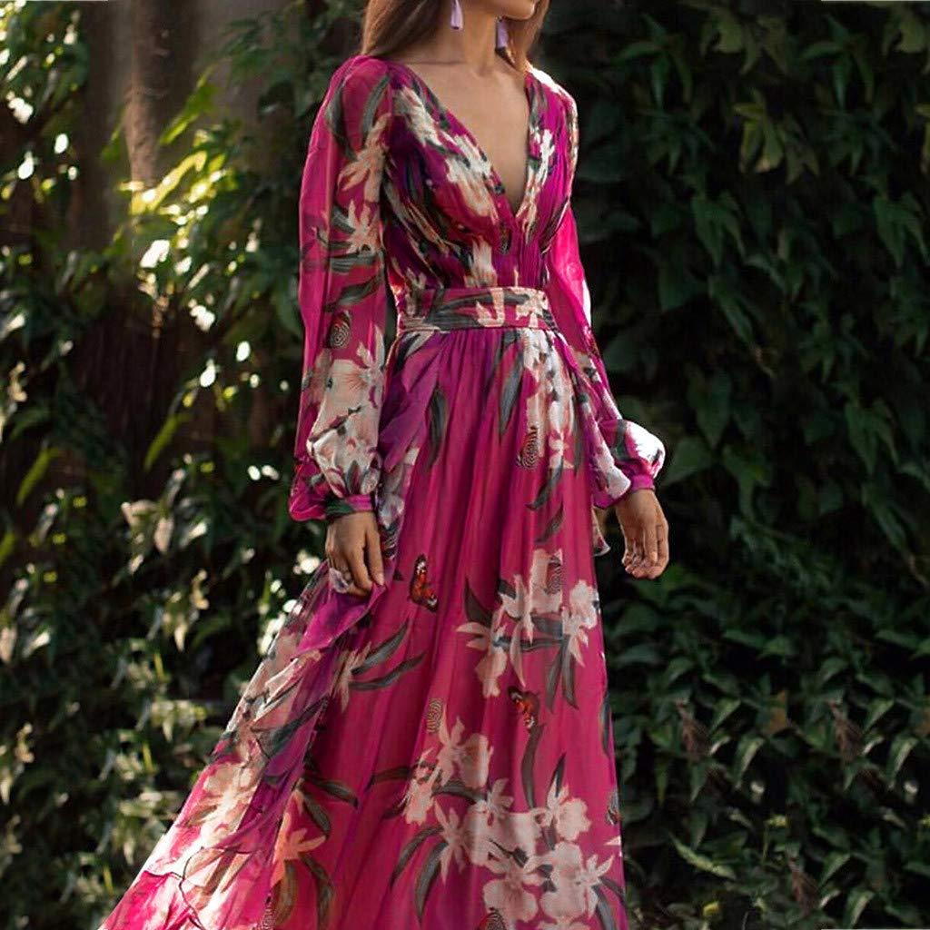 Ultramall Women Fashion Bohemian Floral Printed V Neck Long Sleeve Pleated Chiffon Dress(Hot Pink,M) by Ultramall (Image #2)