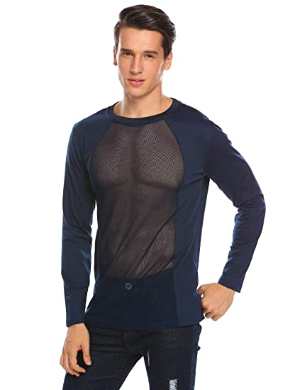 ea47e5de62815 COOFANDY Men s See Through Mesh Shirt Long Sleeve Hip Hop Hipster Sheer Undershirts  Tops