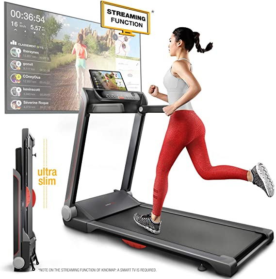 Sportstech FX300 Ultra Slim Treadmill - German Quality Brand - Video Events & Multiplayer APP, huge running surface 51x122cm & no assembly, 16 km/h, USB, pulse belt compatible for Cardio Training