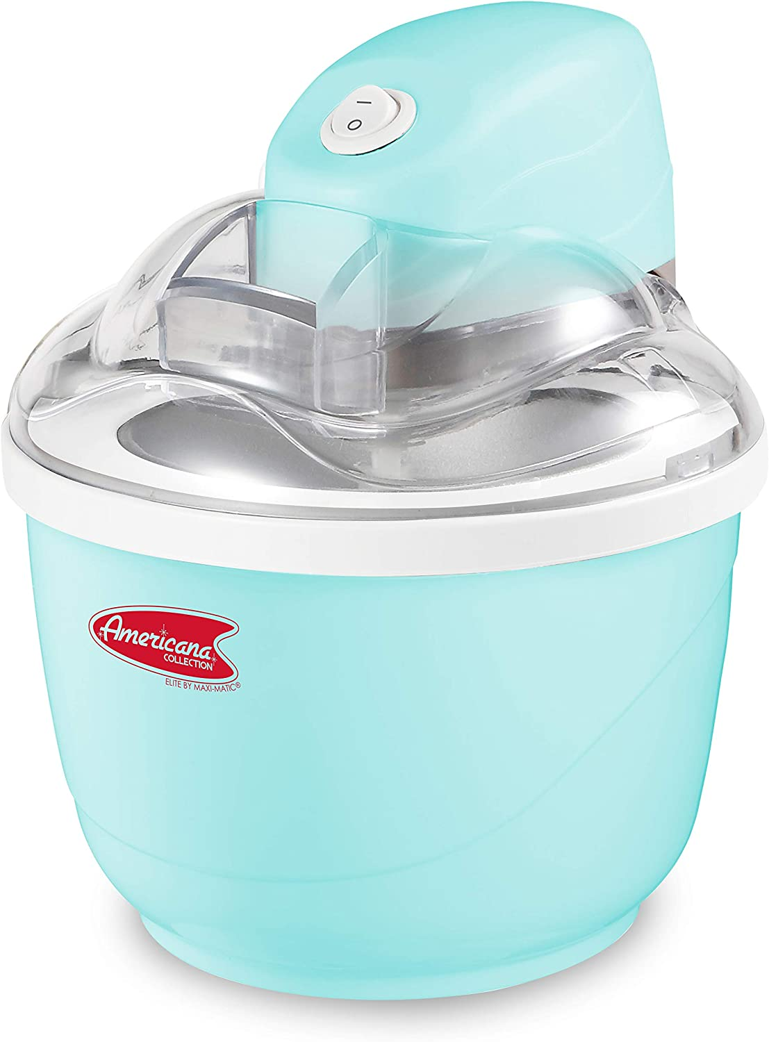 Maxi-Matic EIM-520, Automatic Easy Homemade Electric Maker, Ingredient Chute, On/Off Switch, No Salt Needed, Creamy Ice Cream, Gelato, Frozen Yogurt, or Sorbet, 1 Quart, Blue