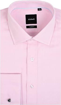 Camisa Rosa Claro de Espiga Entallada Ajustada con puño Doble ...