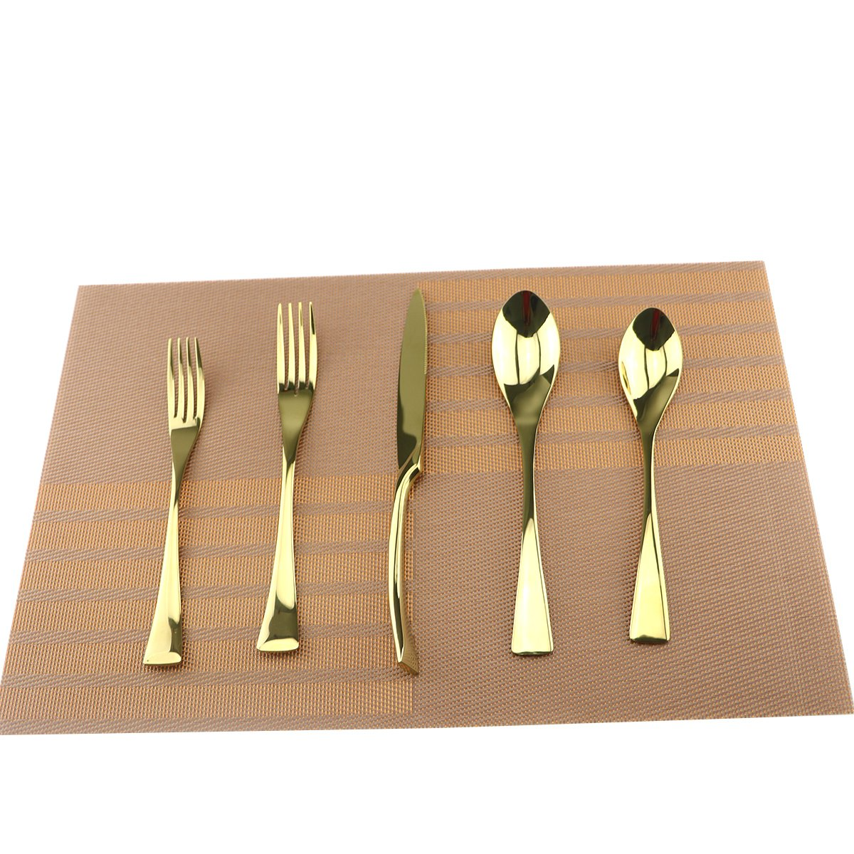 Uniturcky Gold 18/10 Stainless Steel Flatware Set – Stylish Set of Eating Utensils for 1 Person - Dinner Knife, Fork, Soup Spoon, Tea Spoon - Ideal Weight & Size, for Everyday Use or Holidays
