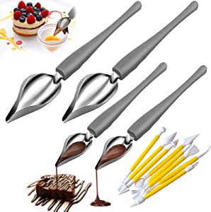 12Pcs Professional Small Precision Culinary Drawing Decorating Spoons Set, Saucier Spoons, Multi-use Stainless Steel Chef Culinary Drawing Spoons for Decorative Plates, Cake, Coffee