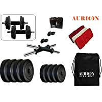 AURION 10 KG COMBO8 PVC Adjustable Fitness Dumbells Set Home Gym with Hand Towel and Gym Bag 10 KG