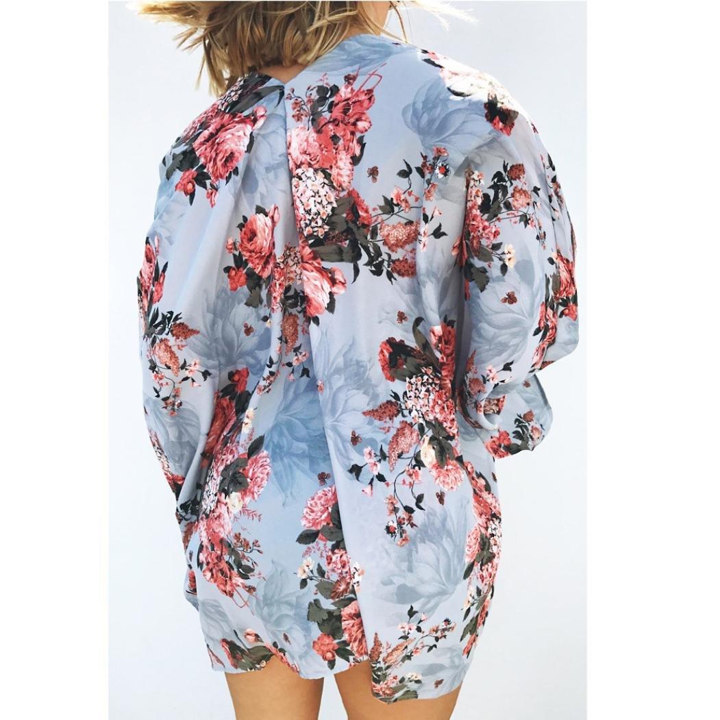 Reaso Cardigan Femme Ete Bohemia Kimono Gilet Long L/âche Bikini Cover Up Veste ohemia Kimono Ch/âle Retro Manches Trench Coat cHIC Chemise Tunique Courtes Blouse Outwear Ouvert