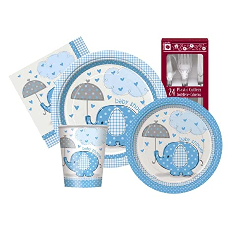 Blue Umbrellaphants Baby Boy Themed Shower Party Supply Kit Serves 8
