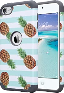ULAK iPod Touch 7 Case, iPod Touch 6 Case, Slim Fit Hybrid Hard Back Cover with Shockproof Soft Silicone Interior Anti-Scratch Premium Case for iPod Touch 5th/6th/7th Generation, Green Pineapple