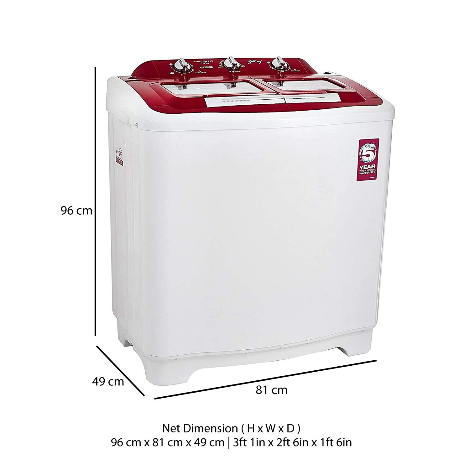 Godrej 7 Kg Semi Automatic Top Loading Washing Machine Gws 7002 Ppd Wiring Diagram Of Videocon Red Home Kitchen