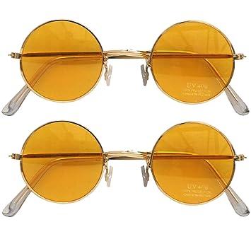 1027075e7626 2 x Orange Hippie Brille mit Passendem metallic Rahmen 70 er Jahre Flower  Power Brillen Motto Party  Amazon.de  Spielzeug