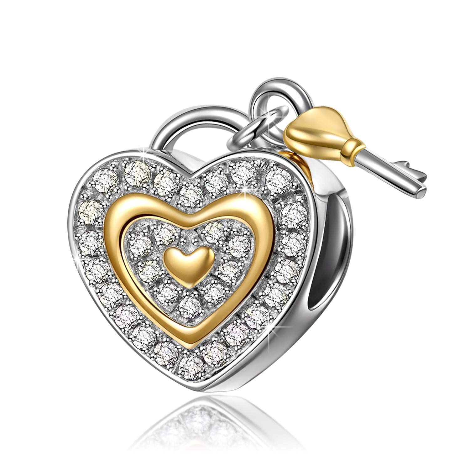 NINAQUEEN Valentines Gifts for Women 925 Sterling Silver Charms with Fine Gifts Packing Suitable for Bracelet Gold Plated Heart Key Beads Engraved Love You Forever